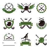 Hockey field labels and icons set. Vector. Illustration Stock Photos