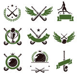 Hockey field labels and icons set. Vector. Illustration Royalty Free Stock Image