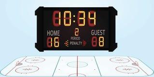 Hockey field with scoreboard. Vector illustration Stock Photography