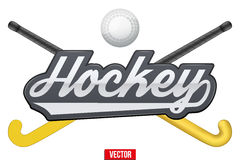 Hockey field tag with ball and sticks. Stock Image
