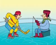 Hockey and fisherman cartoon Royalty Free Stock Photos