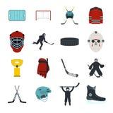 Hockey flat icons set Stock Images