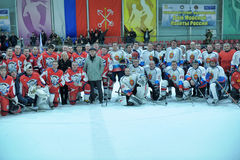 Hockey game. Match to celebrate the Day of the Marine Corps, Russia, St. Petersburg royalty free stock images