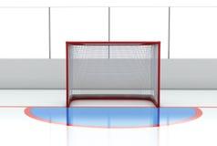 Hockey gates at hockey rink. 3d illustration Hockey gates at hockey rink Royalty Free Stock Image
