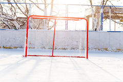 Hockey gates in the park ice playground Stock Photos