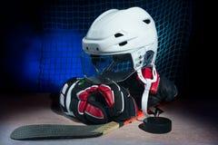 Hockey gear o ice Stock Photo