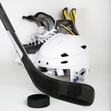Hockey gear square image Stock Photography