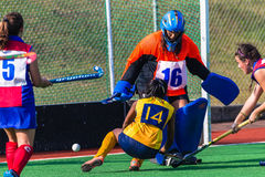 Hockey Girls Goals Defending  Royalty Free Stock Photos