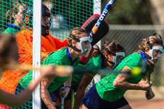 Hockey Girls Masks Goals Action Championship Royalty Free Stock Image