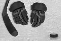 Hockey Accessories on Ice Arena Stock Images
