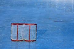 Hockey goal. On an empty ice-ground Royalty Free Stock Photo