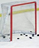 Hockey goal. Post on ice Royalty Free Stock Photos