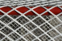 Hockey goal net, detail. Detail of a hockey goal net stock photo