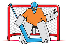 Hockey Goalie. A stylized depiction of a hockey goaltender between the pipes ready to block a shot Royalty Free Stock Photo