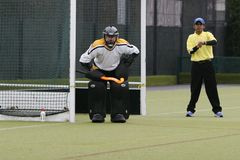 Hockey Goalie. West of England & South Wales Hockey League. Game between Cardiff & UWIC B and Llantrisant & Caerphilly of Severn Division on 13/12/2008 Royalty Free Stock Photo