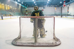 Hockey Goalie die op Één of andere Actie wachten Royalty-vrije Stock Afbeelding