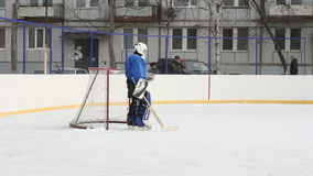Hockey goalie at the gate with stock footage