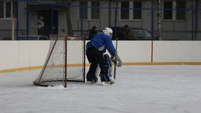 Hockey goalie at the gate with stock video footage