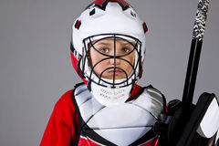 Hockey goalie looking to camera Royalty Free Stock Images