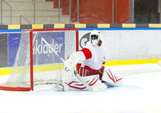Hockey Goalie. Makes a great save royalty free stock photo