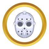 Hockey goalie mask vector icon, cartoon style Royalty Free Stock Photo