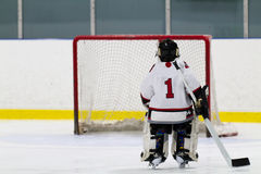 Hockey goalie skating the net Royalty Free Stock Photo