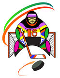 Hockey goalkeeper in the gate Stock Images