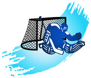 Hockey goalkeeper and goal. Stock Photography