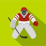 Hockey goalkeeper icon, flat style Royalty Free Stock Images