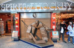 Hockey goalkeeper monument. Photo was taken in Hockey Hall of Fame Museum in Toronto City, Ontario Province, Canada. November 2013 Stock Photography