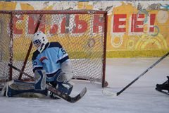 Hockey goalkeeper stands at the gate for a match in street hockey -Russia Berezniki 13 March 2018 . royalty free stock photos