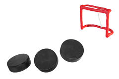 Hockey goals and three goals Royalty Free Stock Photography