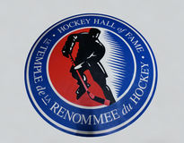 Hockey Hall of Fame Logo. Canada's Hockey Hall of Fame in Toronto, Ontario, uses a bi-lingual logo to reflect not only the bi-cultural nature of the nation but Royalty Free Stock Photo