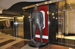 Tim Hortons Statue inside Brookfield Place in Toronto of Ontario Province Canada. Hockey Hall of Fame zone inside Brookfield Place in Toronto of Ontario Province Royalty Free Stock Photos