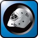 Hockey helmet on blue web button Royalty Free Stock Image