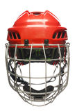 Hockey helmet isolated. Red hockey helmet with cage isolated on white Stock Images