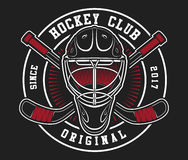 Hockey helmet with sticks. On dark black background. Text is on the separate layer Stock Photos
