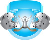 Hockey helmets on blue background. Hockey helmets facing one another. Championship game Stock Photos
