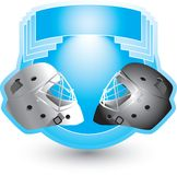 Hockey helmets on blue crest. Ice hockey helmets on blue crest Royalty Free Stock Photo
