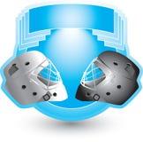 Hockey helmets on blue crest. Ice hockey helmets on blue crest stock illustration