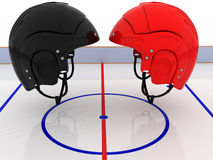Hockey helmets over the hockey field. #5 Royalty Free Stock Photo