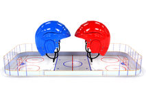 Hockey helmets over the hockey field. #3 Stock Photo