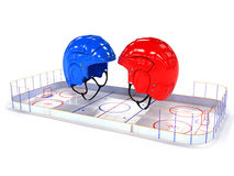 Hockey helmets over the hockey field. #4 Stock Photography