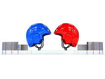 Hockey helmets over the hockey field. #2 Royalty Free Stock Photo