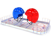 Hockey helmets over the hockey field. #1 Royalty Free Stock Photography