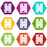 Hockey ice field icons set 9 vector. Hockey ice field icons 9 set coloful isolated on white for web Stock Photo