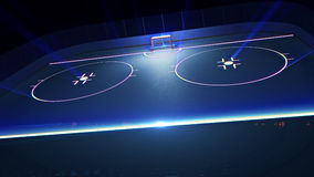 Hockey ice rink and goal. 3d rendered illustration of hockey ice rink and goal. Shining lines on ice Stock Image