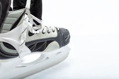 Hockey ice skate. Close up view, on white, of ice skate for hockey of freestyle use royalty free stock photo