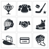 Hockey icon collection Stock Photos