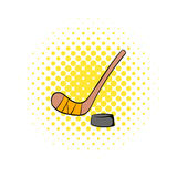 Hockey icon in comics style Stock Images